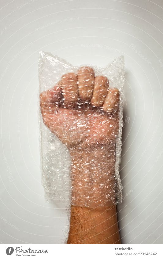 fist Fist Concentrate Thumb Fingers Gesture Hand Man Human being Paper bag Plastic bag Packaging Forefinger Indicate Bubble Anger slowed Caution Protection