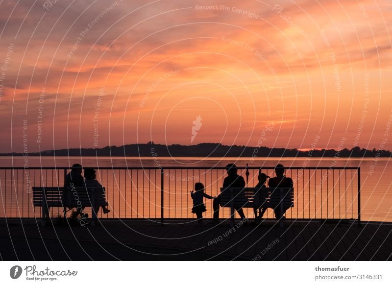 Sunset with group of people sitting, silhouette Vacation & Travel Far-off places Summer Ocean Human being Child Woman Adults Man Parents Family & Relations 6