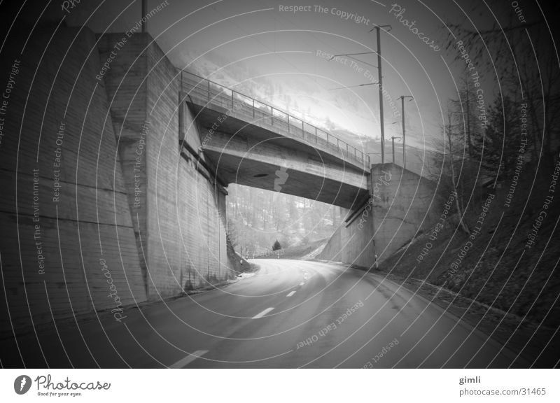 tunnel vision Mobility Speed Transport Bridge Black & white photo Underpass Perspective Street