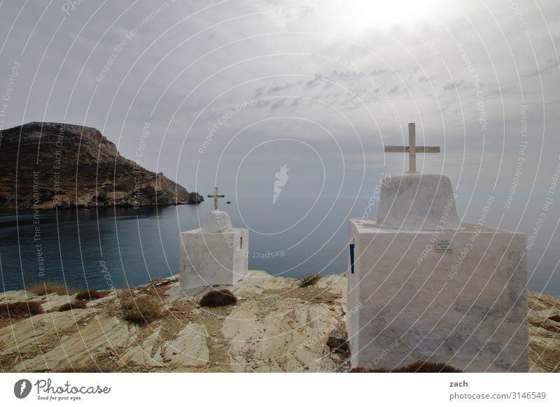 Crisscrossed Landscape Sky Clouds Hill Coast Ocean Mediterranean sea Aegean Sea Island Folegandros Cyclades Greece Village Fishing village Church Crucifix Gray