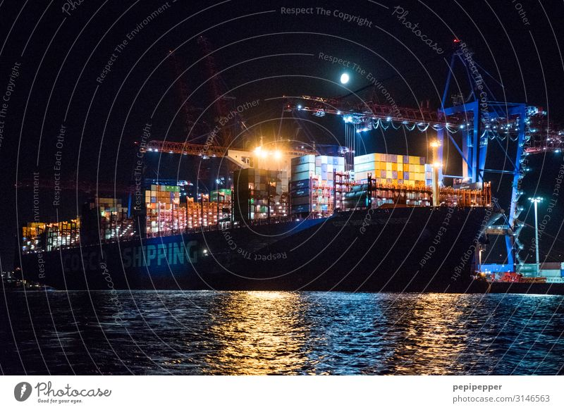 giant container ship Workplace Harbour Economy Logistics Machinery Technology Night sky River bank Port of Hamburg Port City Tourist Attraction Transport