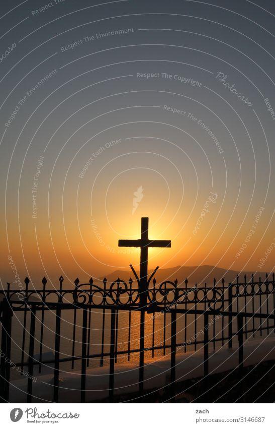 Blue Ocean Religion and faith Coast Church Island Hope Hill Belief Crucifix Gate Mediterranean sea Greece Aegean Sea Fishing village Santorini