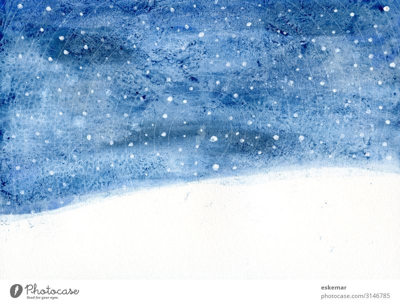 Winter Night Watercolour Snow Winter vacation Christmas & Advent Art Work of art Painting and drawing (object) Watercolors Environment Nature Landscape Sky