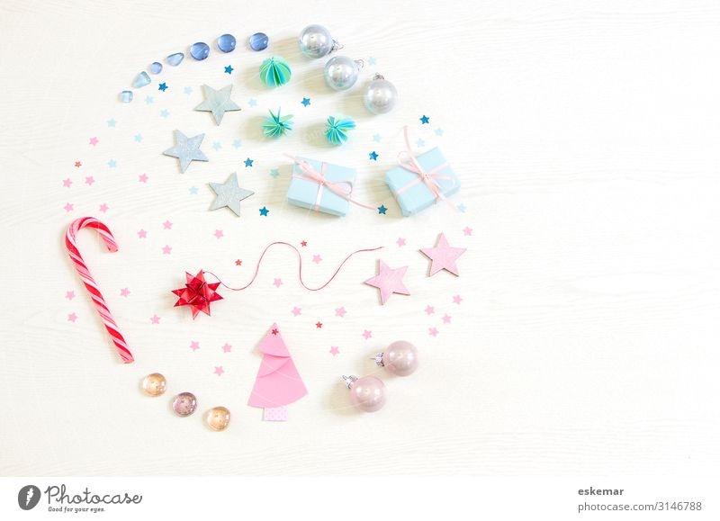 Christmas & Advent Blue White Feasts & Celebrations Pink Decoration Retro Esthetic Happiness Gift Star (Symbol) Paper Circle Sign Round Candy