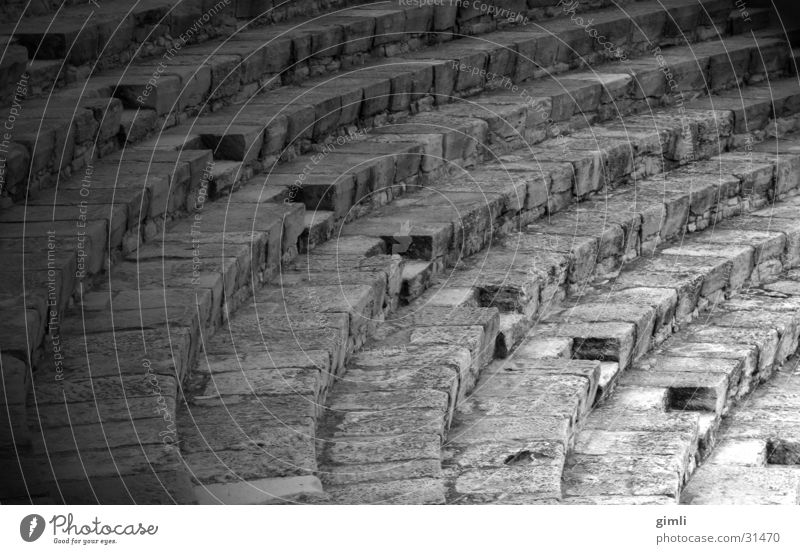 theatre corridor Greece Cyprus Diagonal Architecture Black & white photo Stone Image editing Theatre