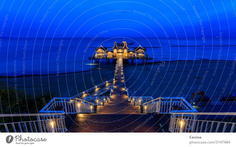 Sellin pier Germany Europe Small Town Vacation & Travel island rebuke Rügen Beach Sea bridge Baltic Sea Twilight Long exposure Ocean Stairs Warm light Cliff