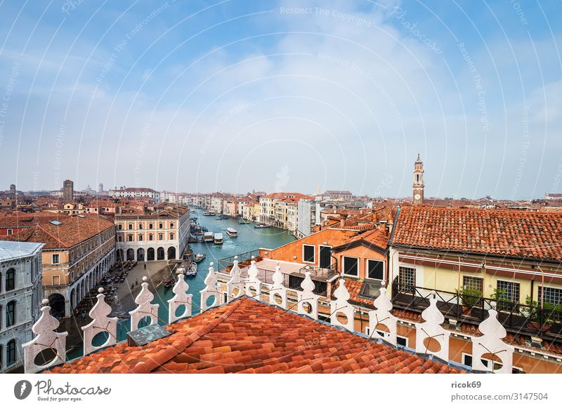 View of the Canal Grande in Venice, Italy Relaxation Vacation & Travel Tourism House (Residential Structure) Water Clouds Town Old town Tower Manmade structures
