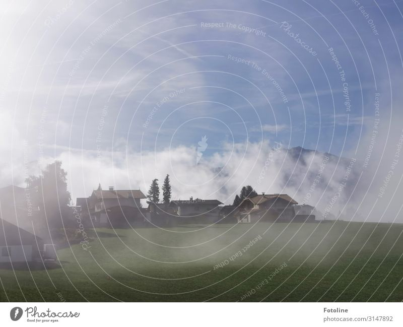 Austria Environment Nature Landscape Sky Clouds Autumn Fog Plant Tree Grass Mountain Village Populated House (Residential Structure) Manmade structures Building