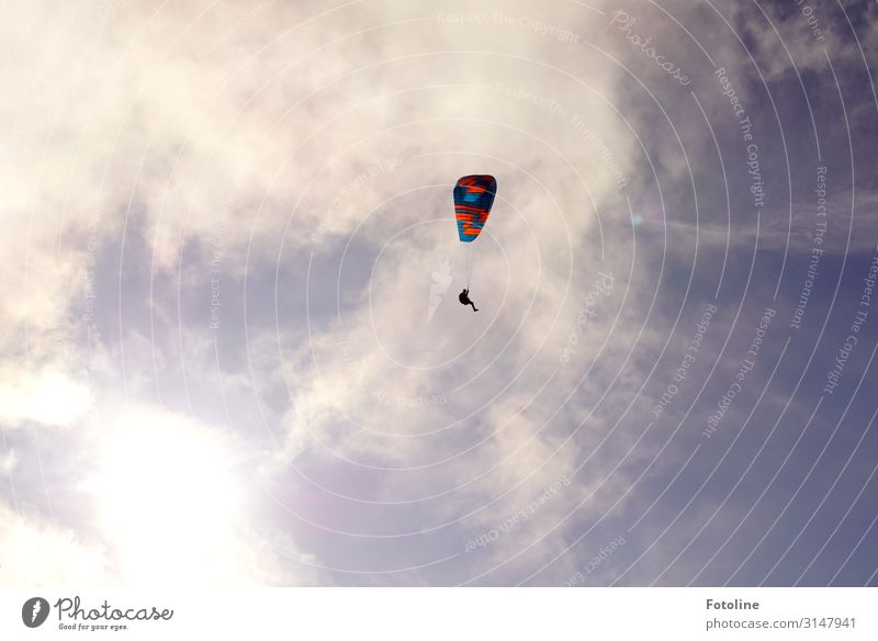 Don't fly so high my little friend ;-) Sports Elements Air Sky Clouds Beautiful weather Bright Tall Small Natural Blue Red White Paragliding Paraglider Flying