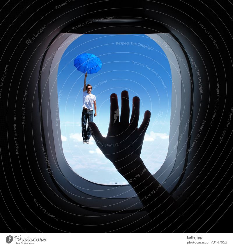 Sky Clouds Window Movement Airplane window Transport Aviation Illustration To fall Umbrella Traffic infrastructure Passenger traffic Height False Fairy tale