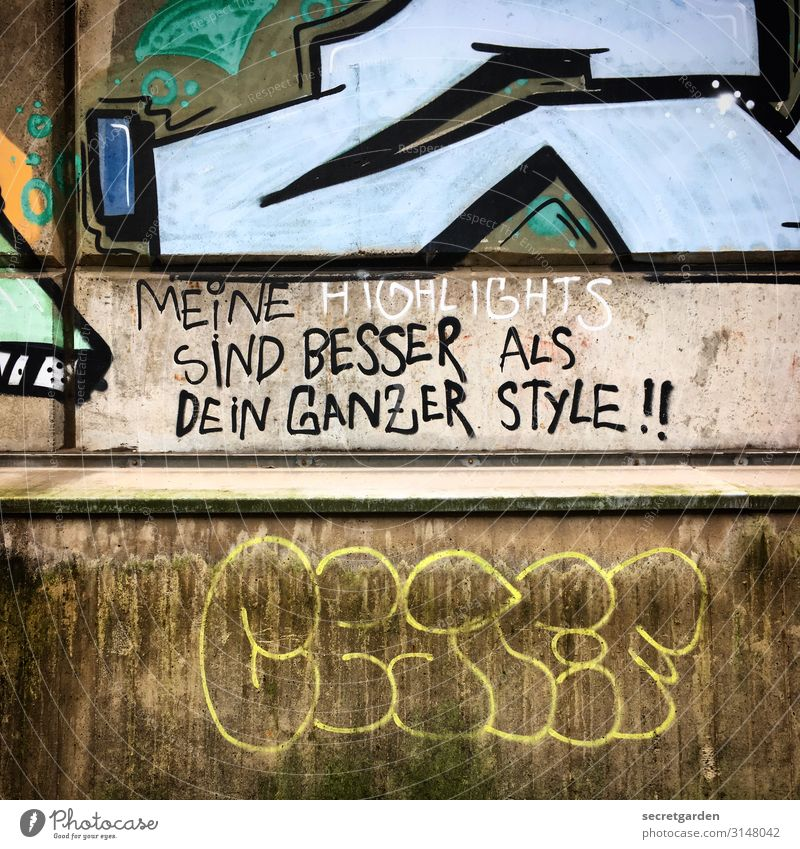 Graffiti Wall (building) Style Art Wall (barrier) Characters Crazy Cool (slang) Concrete Sign Self-confident Work of art Aggression Wisdom Rebellious Arrogant