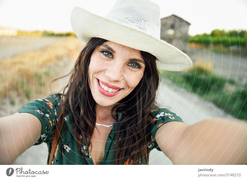Hiker young woman taking a selfie photograph outdoors Woman Human being Vacation & Travel Nature Youth (Young adults) Young woman Summer Beautiful Green White