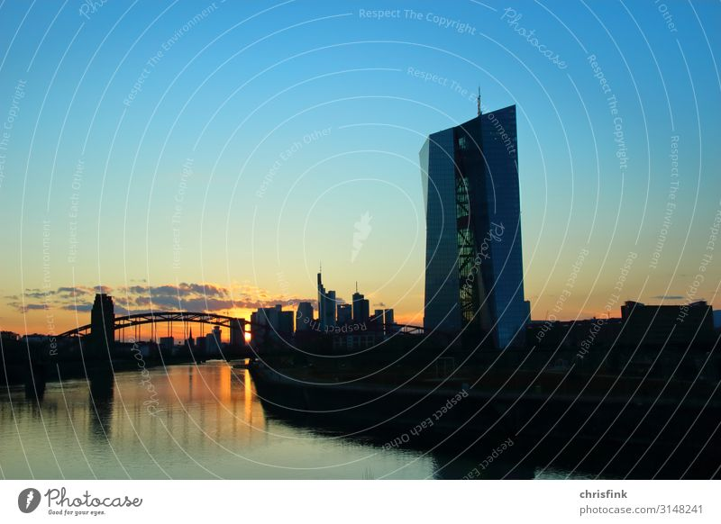 ECB Frankfurt Sunset Art Landscape Town Skyline High-rise Building Architecture Blue Orange Poverty Belief Religion and faith Luxury European Central Bank
