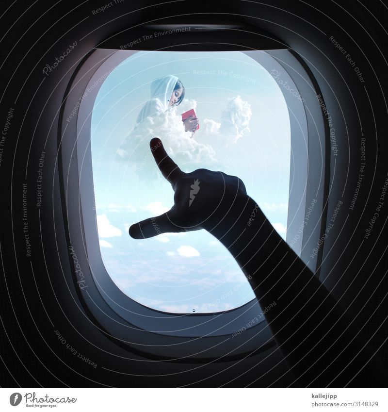 educational journey Human being Child Girl Arm Hand Fingers 2 Environment Nature Clouds Aviation Airplane Passenger plane View from the airplane Reading Book