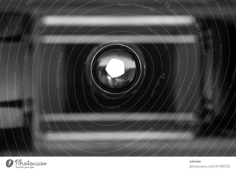 View through lens with old analogue camera Camera Objective Old Gray Black White Aperture Shallow depth of field Vista Analog Take a photo Lens Close-up Detail