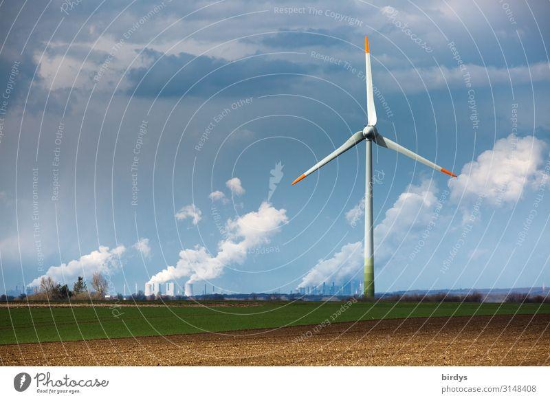 Wind turbine, angular power plant, lignite-fired power plant in the background, coal-fired power plant Energy industry Renewable energy Wind energy plant