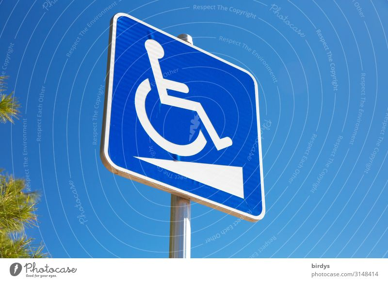 Barrier-free ? Health care Wheelchair Androgynous 1 Human being Cloudless sky Beautiful weather Sign Signs and labeling Signage Warning sign Authentic Positive
