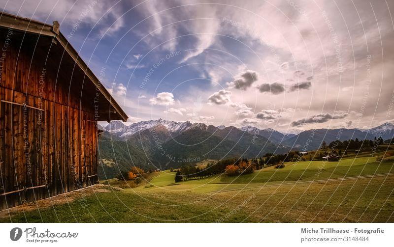 Alpine landscape in Austria Vacation & Travel Tourism Mountain Hiking Nature Landscape Sky Clouds Autumn Beautiful weather Grass Peak Snowcapped peak Fiss