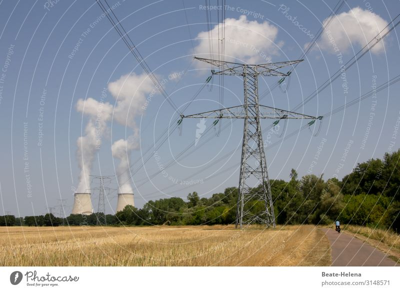 Power requirements: High voltage line in front of two cooling towers Landscape High-power current electricity Energy industry Transmission lines Clouds