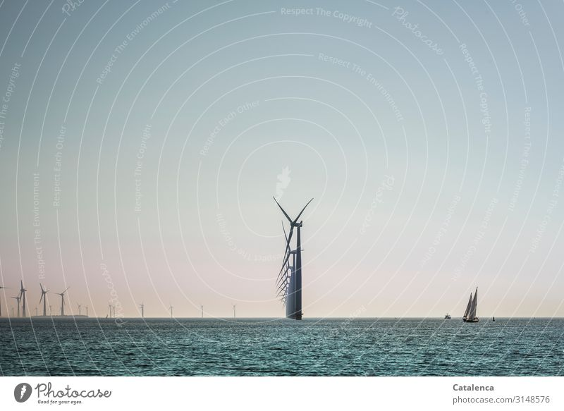 The energy of the wind Sailing Ocean Waves Sailboat Technology Energy industry Renewable energy Wind energy plant Environment Nature Landscape Elements