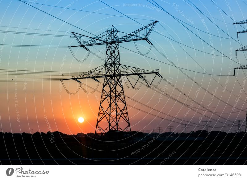 energies High voltage power line Technology Energy industry Solar Power Electricity Nature Landscape Cloudless sky Sun Sunrise Sunset Sunlight Beautiful weather