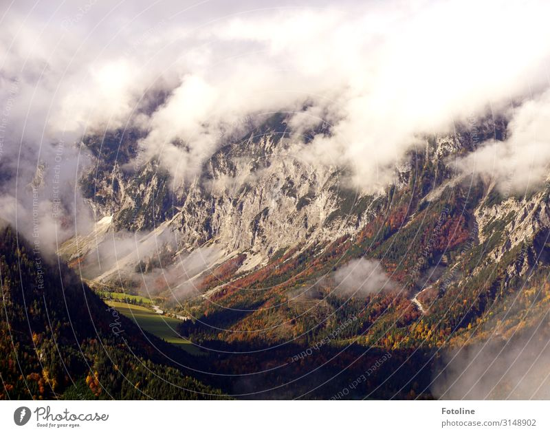 The valley Environment Nature Landscape Plant Elements Air Clouds Autumn Rock Mountain Far-off places Gigantic Tall Natural Brown Green White Valley Austria