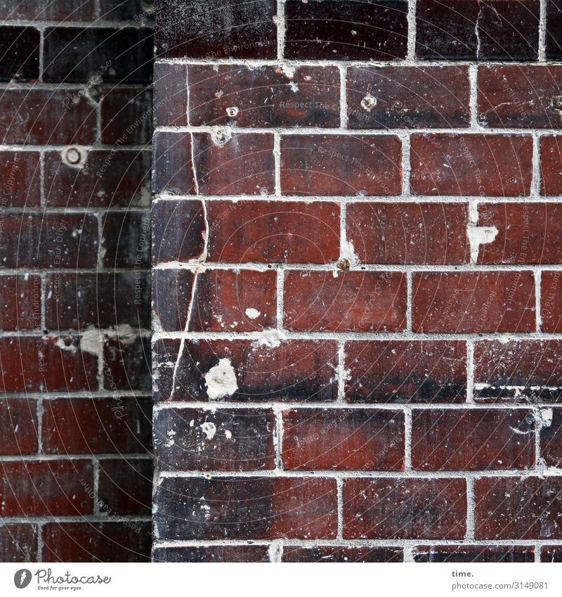 alpha front Wall (barrier) Wall (building) Facade Brick Brick wall Brick facade Seam Hollow Plaster Corner Rawplug Stone Line Stripe Old Broken Trashy Red Black