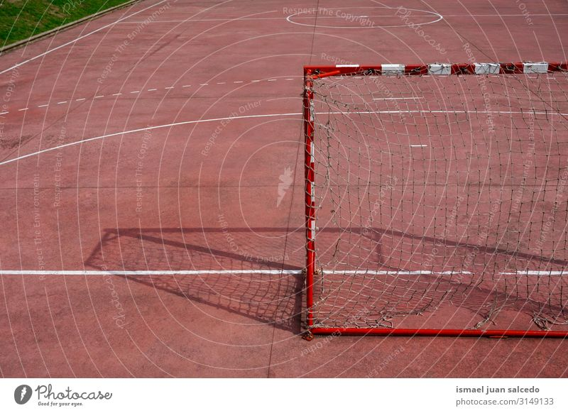 soccer goal sports equipment on the field Soccer Playing field Court building Red Soccer Goal Net Internet Rope Sports Sports equipment abandoned Old Street