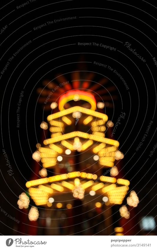 Christmas pyramid Night life Christmas & Advent Trade Hut Lamp Electric bulb Candle Sign Ornament Sphere Line Stripe Yellow Multicoloured Exterior shot