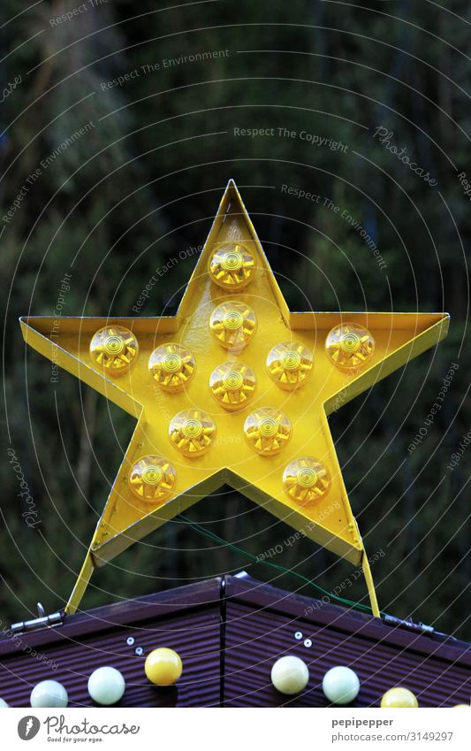 star Christmas & Advent Plant Tree Hut Wall (barrier) Wall (building) Facade Star (Symbol) Sign Ornament Sphere Yellow Christmas Fair Exterior shot Deserted Day