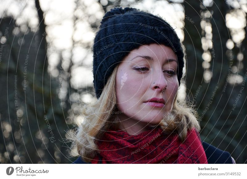 Skin thing | the cold gets under the skin Woman Adults 1 Human being Landscape Winter Tree Bushes Lakeside Scarf Cap Blonde Freeze Stand Cold Red Black Emotions