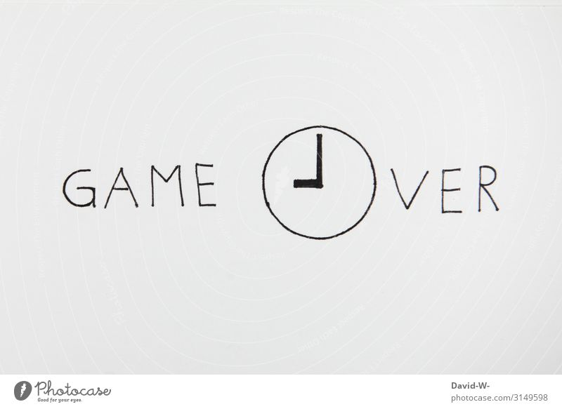 game over Game over Wordplay words come to an end ending written Drawing Creativity creatively Clock Time Expired flaked Copy Space top Playing End