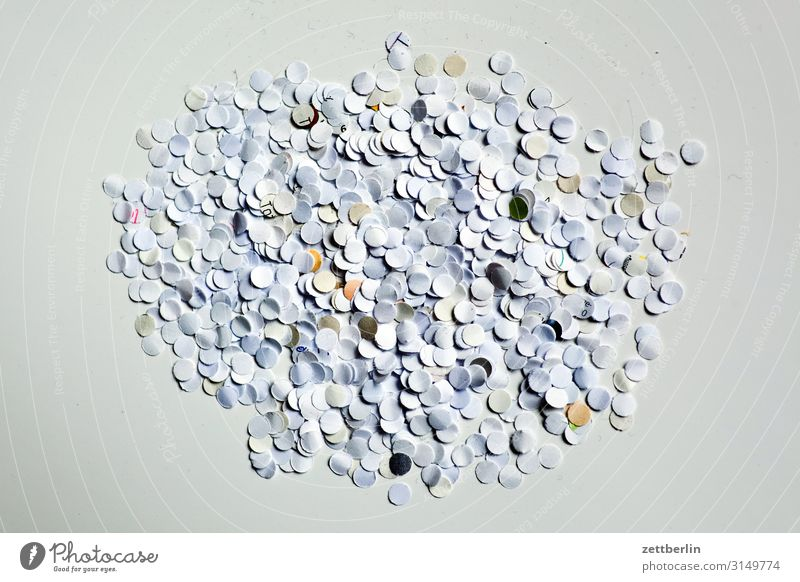 confetti Trash Abstract Office Carnival Background picture Confetti Hole puncher Paper paper shavings Snippets Structures and shapes Depth of field White