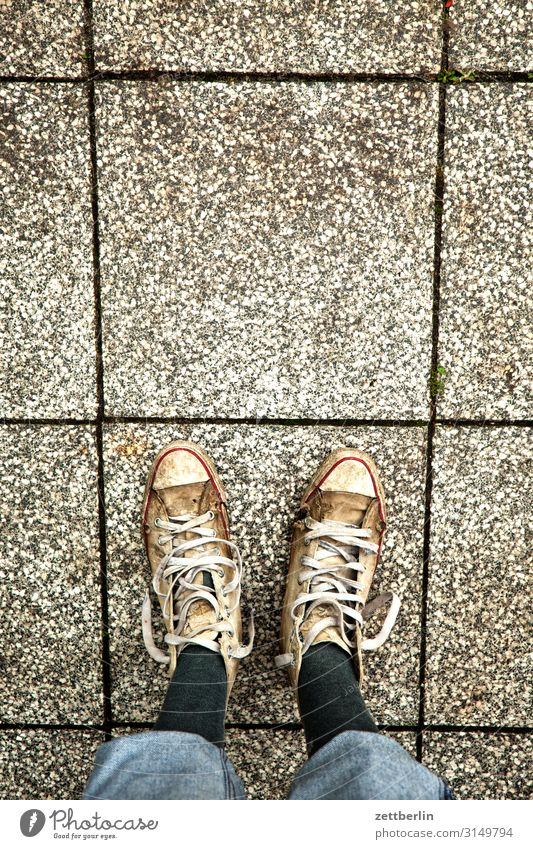 Old sneakers - 5555 Tile Feet Floor covering Left Man Human being In pairs Right Footwear Stand Copy Space Copy Space top Sneakers Bird's-eye view Wait 2