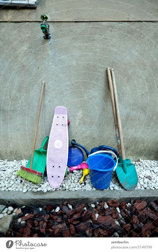 Garden Copy Space Playing Work and employment Toys Chaos Tool Skateboard Muddled Gardening Backyard Playground Broom Scales Shovel Bucket