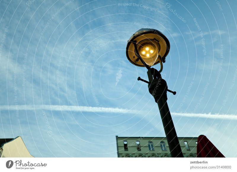Old lantern Lantern Street lighting Gas lamp Ancient Historic Light Lighting Worm's-eye view Berlin Town Deserted Living or residing Residential area Sky Heaven