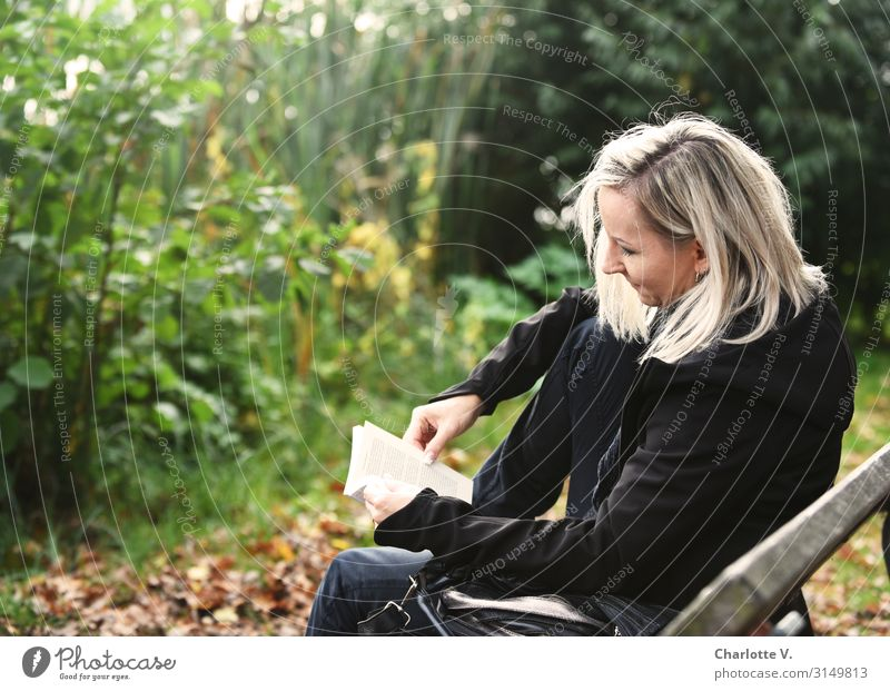 Read | UT HH 19 Feminine Woman Adults Human being 30 - 45 years Culture Media Print media Book Reading Nature Plant Autumn Beautiful weather Bushes Park Blonde