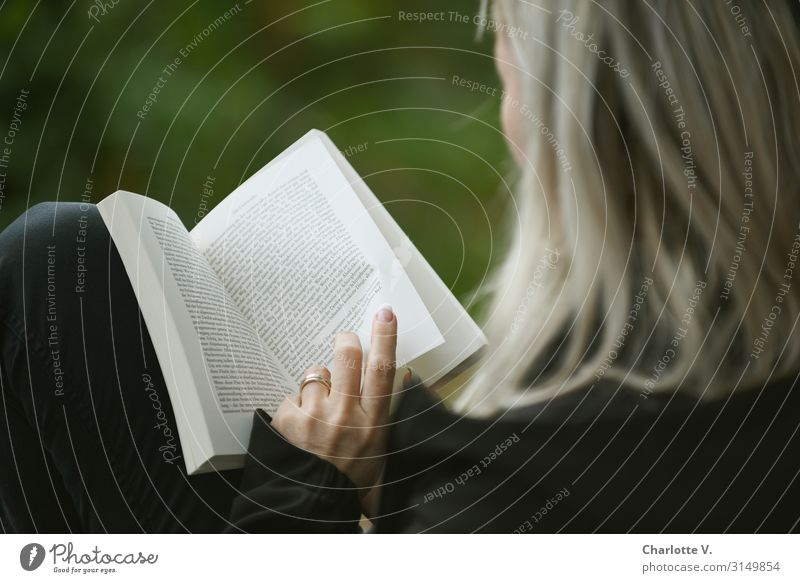 Scroll | UT HH 19 Human being Feminine Woman Adults Life 30 - 45 years Culture Print media Book Reading Blonde Touch Think Study Simple Natural Green Black