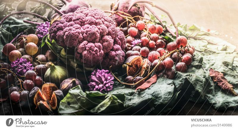Purple fruit and vegetables Food Nutrition Shopping Design Healthy Healthy Eating Life Style Background picture Still Life Kohlrabi Cauliflower Bunch of grapes