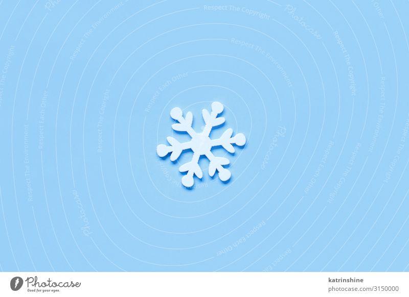 White Christmas snowflake on a light blue background Decoration Ornament Blue Snowflake Light blue holidays pastel Guest Festive seasonal noel Copy Space