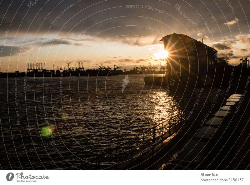 Sundowner | UT HH19 Sunrise Sunset Sunlight Joy Happy Contentment Joie de vivre (Vitality) Esthetic Relaxation Hamburg Harbour Port City Port of Hamburg