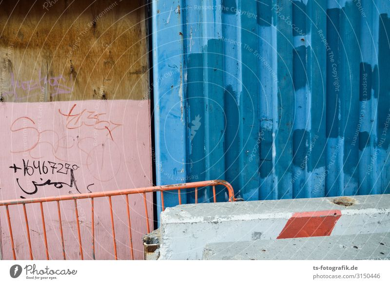 Blue kissing pink Construction site New York City Downtown Deserted Wall (barrier) Wall (building) Facade Protective Grating Hoarding Container Stone Concrete