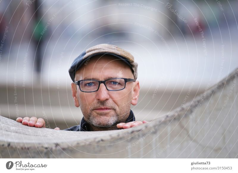 Your blue eyes... :) | UT HH19 Man Adults Male senior Senior citizen Human being 45 - 60 years 60 years and older Wall (barrier) Wall (building) Eyeglasses Cap