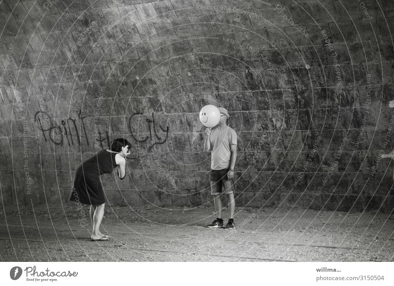 Woman Human being Man Graffiti Funny Characters Balloon Dress Hide Text Tunnel Photographer Grinning Take a photo Photo shoot Faceless