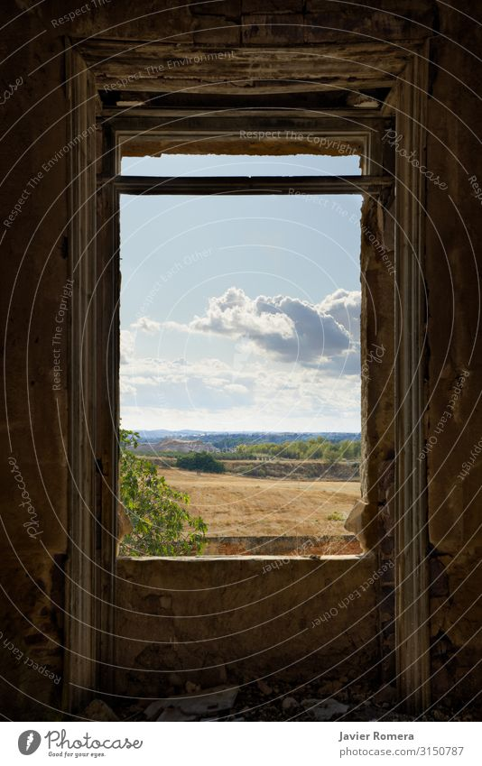 Cloudy landscape framed by a broken window Freedom House (Residential Structure) Interior design Landscape Sky Clouds Horizon Meadow Ruin Building Window Old