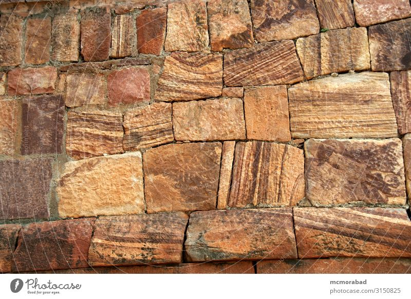 Dressed Stone Pattern Design Beautiful Red Arrangement slabs blocks wedges Granite Sandstone grain structure particles Granules Consistency Surface