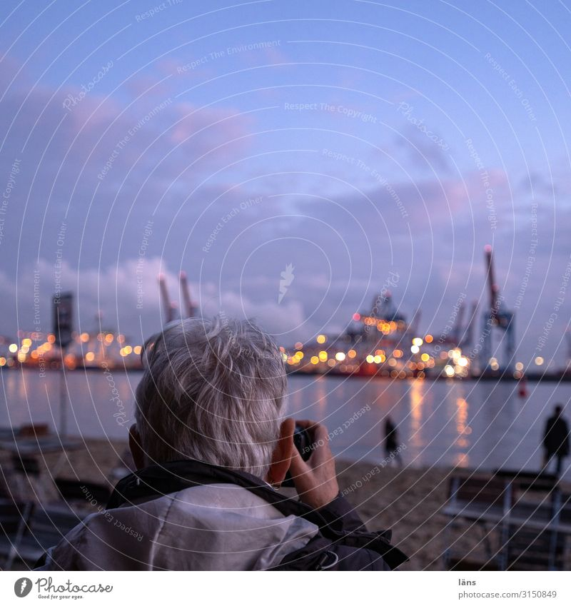 Photo motif container harbour Burchhardkai Vacation & Travel Tourism Trip Far-off places Sightseeing Human being Feminine Adults Senior citizen Life Head 1