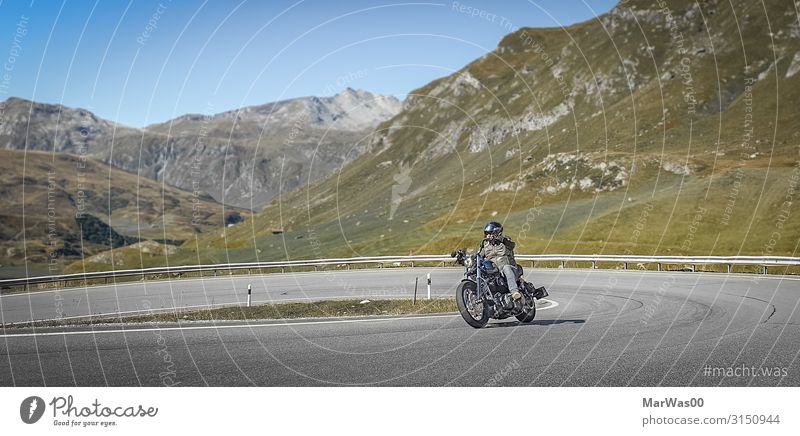scenic ride Lifestyle Joy Leisure and hobbies Motorcycling Motorcycle Motorcyclist Vacation & Travel Trip Far-off places Freedom Mountain Human being Masculine