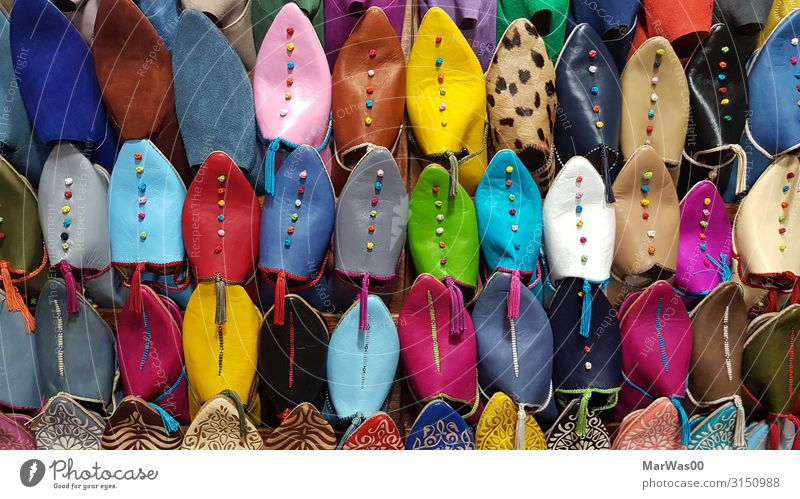 Shoes in Marrakesh Shopping Vacation & Travel Tourism City trip Fashion Clothing Footwear Slippers Cliche Multicoloured Souvenir Souvenir shop Decoration