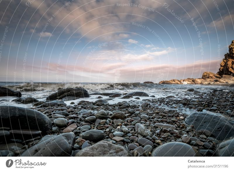 Sky Nature Blue Water Landscape Ocean Clouds Beach Environment Coast Stone Brown Gray Rock Pink Moody